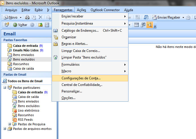 Configurando seu E-mail no Windows Outlook 2007 - Passo 1
