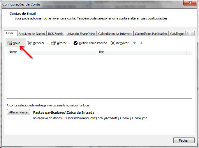 Configurando seu E-mail no Windows Outlook 2007 - Passo 2