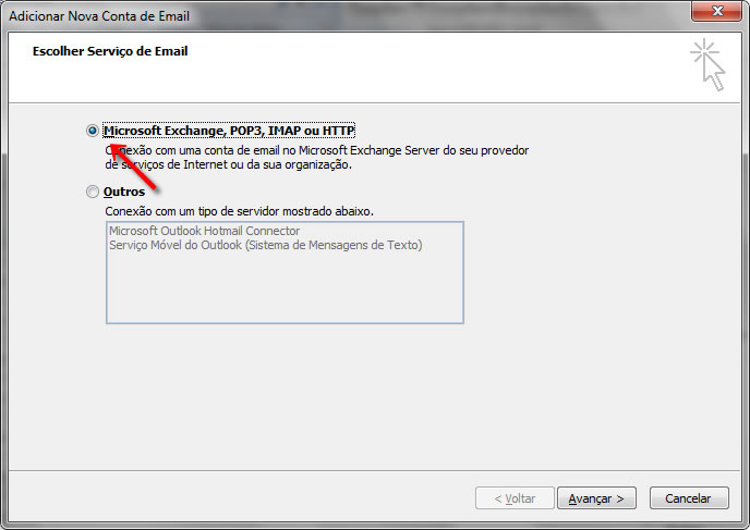 Configurando seu E-mail no Windows Outlook 2007 - Passo 4