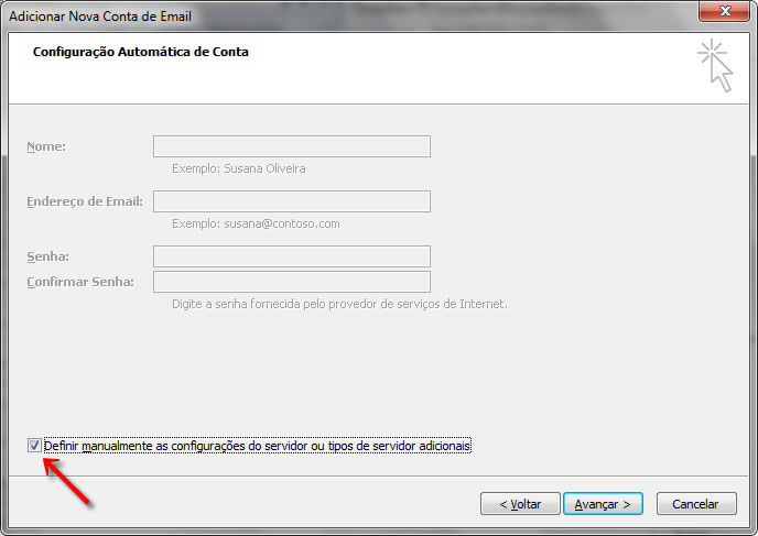 Configurando seu E-mail no Windows Outlook 2007 - Passo 3