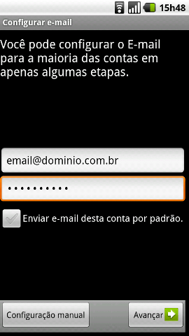 Configurar email Android - Passo 2