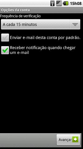 Configurar email Android - Passo 6
