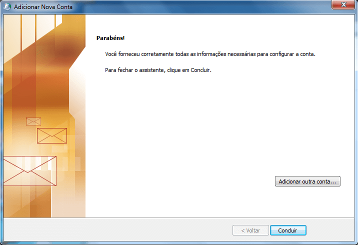 Configurando seu E-mail no Windows Outlook 2010 - Passo 9