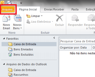Configurando seu E-mail no Windows Outlook 2010 - Passo 1