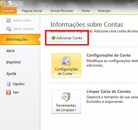 Configurando seu E-mail no Windows Outlook 2010 - Passo 2