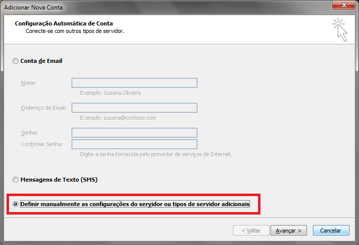 Configurando seu E-mail no Windows Outlook 2010 - Passo 3