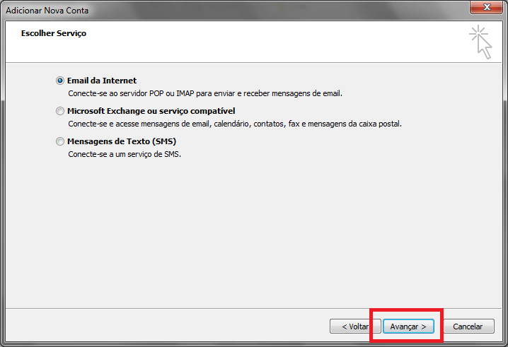Configurando seu E-mail no Windows Outlook 2010 - Passo 4