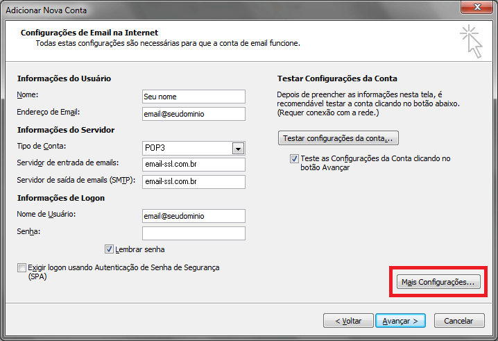 Configurando seu E-mail no Windows Outlook 2010 - Passo 5