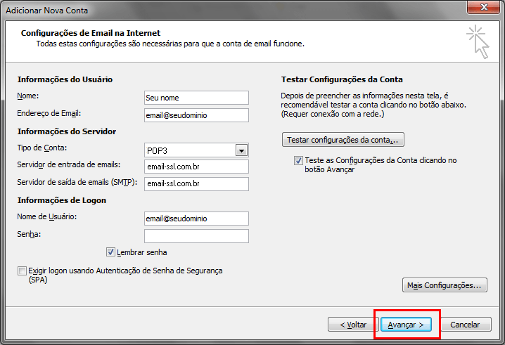 Configurando seu E-mail no Windows Outlook 2010 - Passo 8