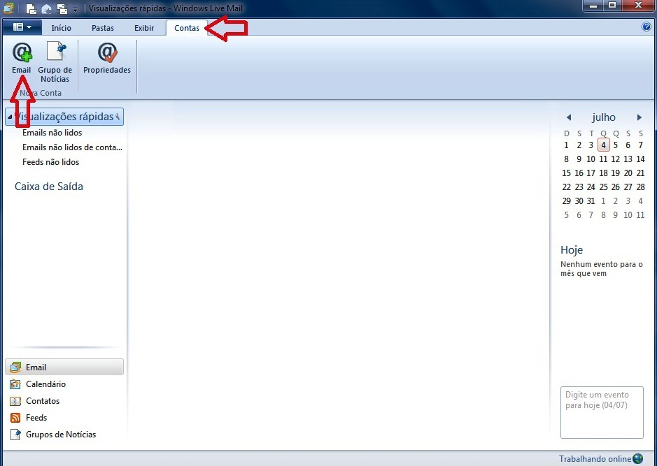 Configurando seu E-mail no Windows live mail - Passo 1
