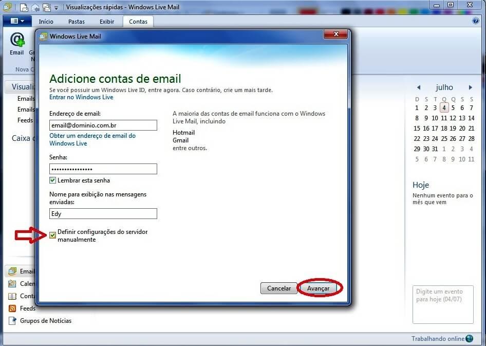 Configurando seu E-mail no Windows live mail - Passo 2