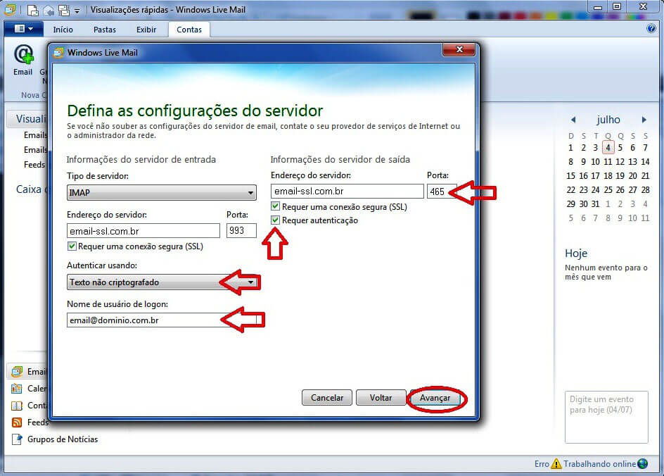 Configurando seu E-mail no Windows live mail - Passo 3