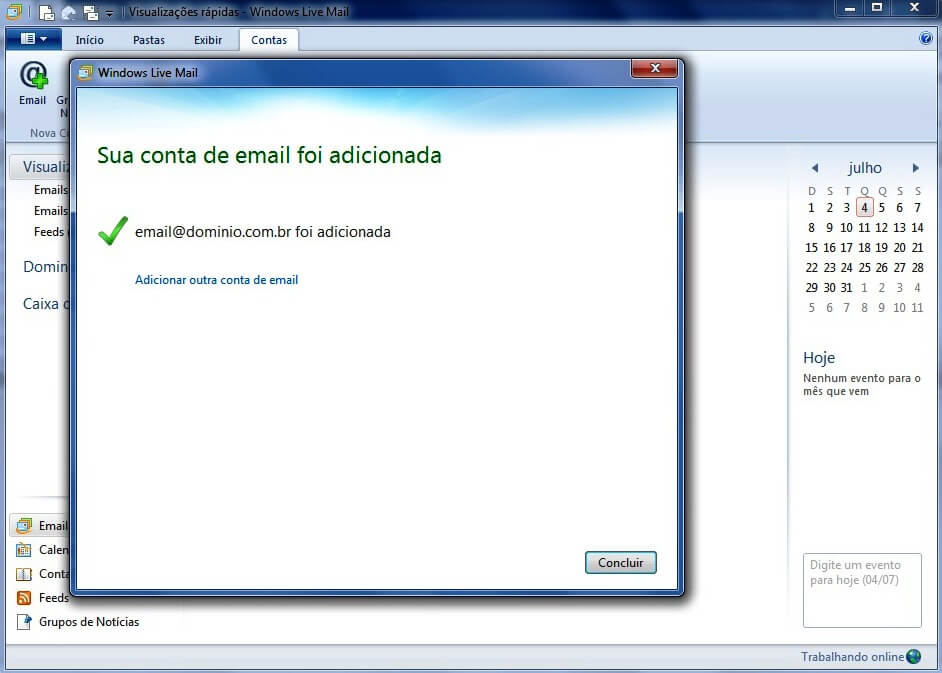 Configurando seu E-mail no Windows live mail - Passo 4