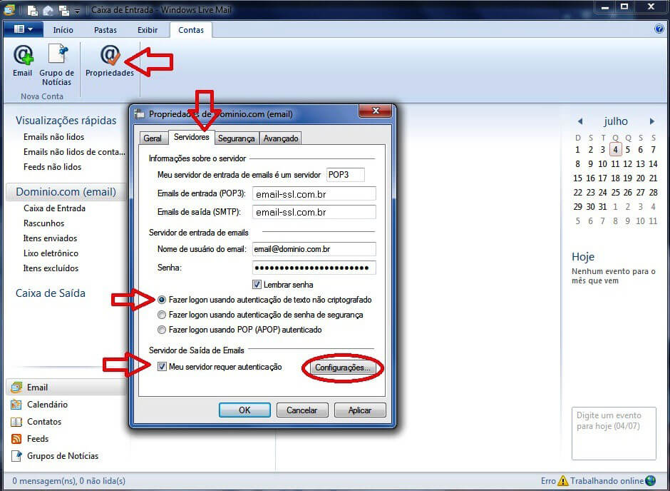 Configurando seu E-mail no Windows live mail - Passo 5