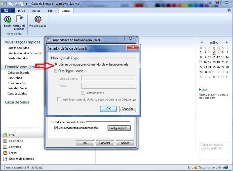 Configurando seu E-mail no Windows live mail - Passo 6